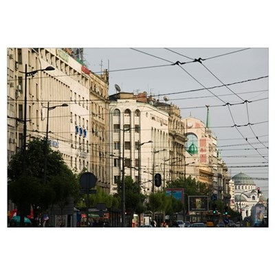 Buildings in a city, Terazije Street, Belgrade, Se Framed Print