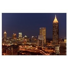 Buildings lit up at night in a city, Atlanta, Geor Poster