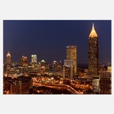 Buildings lit up at night in a city, Atlanta, Geor