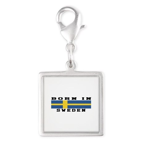Born In Sweden Silver Square Charm
