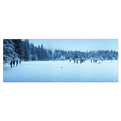 Group of people curling on a frozen lake, Taferkla Framed Print