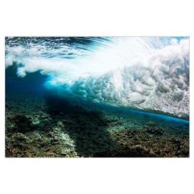 Micronesia, Yap, Underwater View Of Surf Crashing Poster