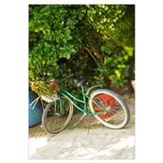 French Polynesia, Tahiti, Maupiti, Bicycle Parked  Framed Print