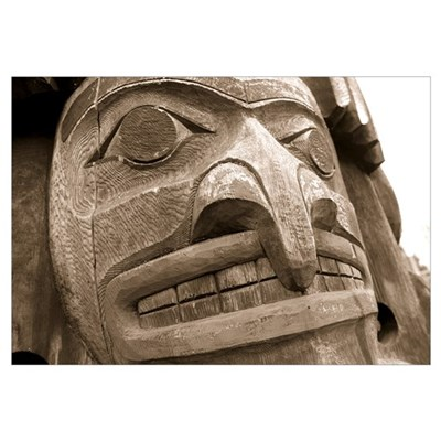Close-up of a totem pole, Victoria, Vancouver Isla Framed Print