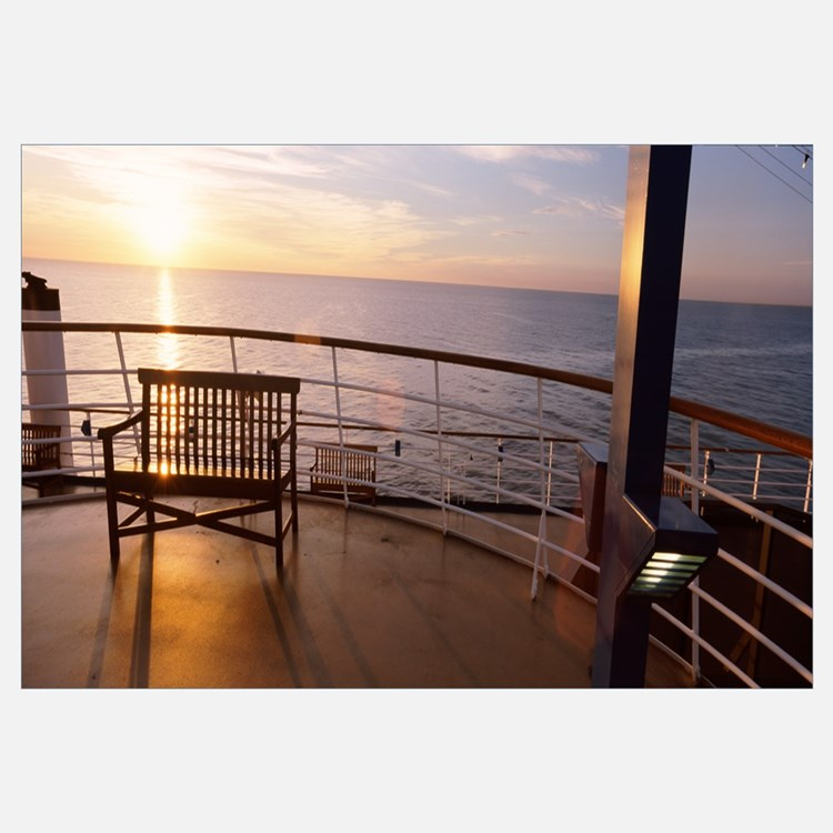 Deck railing of Carnival Cruise ship in the Atlant