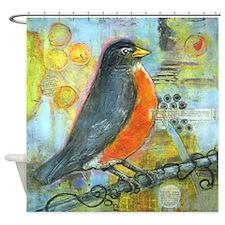 Red Robin Bird Shower Curtain