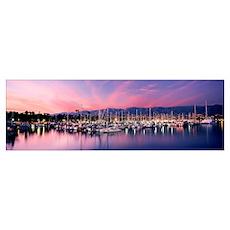 Boats moored in harbor at sunset, Santa Barbara Ha Poster