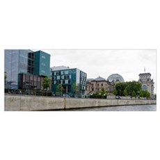 Buildings at the waterfront, The Reichstag, Spree  Poster