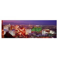 Buildings lit up at dusk in a city, Las Vegas, Cla Poster