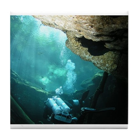 Cave Diving Tile Coaster