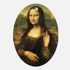 Mona Lisa Flip Off Ornament (Oval)