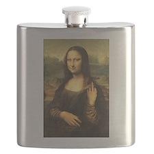 Mona Lisa Flip Off Flask