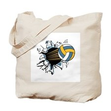 Volleyball Ripping Through Tote Bag