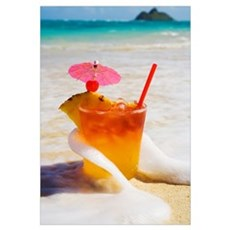 Mai Tai Getting Splashed By A Wave As It Rest On T Framed Print