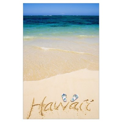 Pair Of Flipflops And Hawaii Written In The Sand, Poster