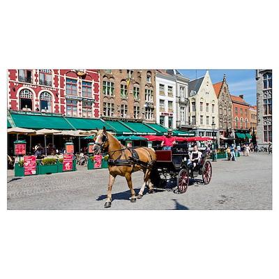 Horsedrawn cart at a market, Bruges, West Flanders Poster