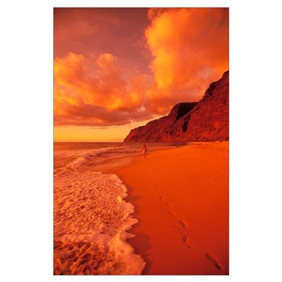 Hawaii, Kauai, Polihale State Park Beach At Sunset Poster