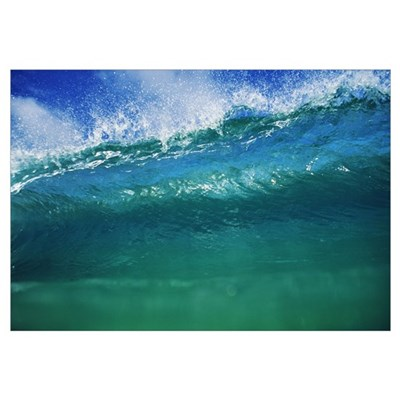 Hawaii, Green Wave At Its Peak With White Wash, Bl Framed Print