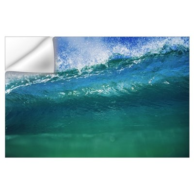 Hawaii, Green Wave At Its Peak With White Wash, Bl Wall Decal