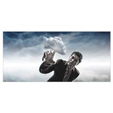 Man touching a cloud with finger Poster