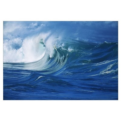 Hawaii, Oahu, Waimea Shorebreak, Misty Wave Coming Framed Print