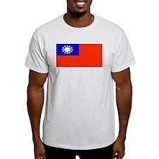 Taiwan Taiwanese Blank Flag Ash Grey T-Shirt