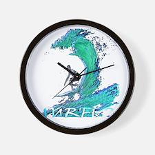 surfer art illustration Wall Clock