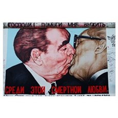 Painting of Honecker and Brezhnev on Berlin Wall,  Poster