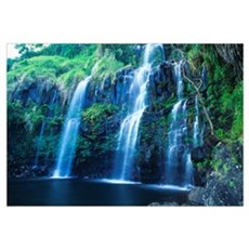 Hawaii, Maui, Hana Coast, Waterfall Flows Into Blu Poster