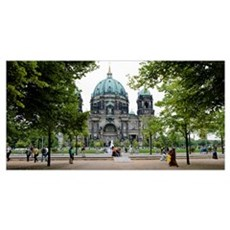 People in a park in front of a cathedral, Berlin C Poster