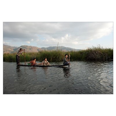 People rowing boat in a lake, Inle Lake, Shan Stat Poster