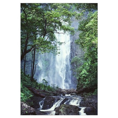 Hawaii, Waterfalls Cascading Down Rocky Cliff, Tre Canvas Art