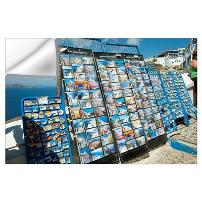 Post cards on racks at a market stall, Fira, Santo Wall Decal
