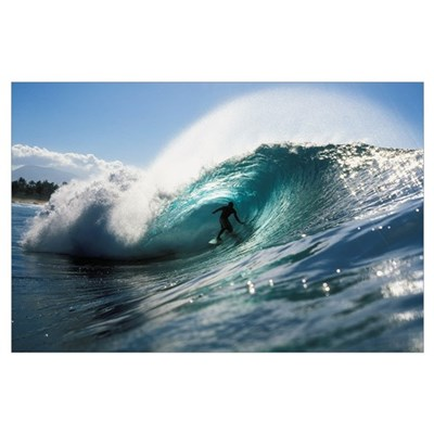 Hawaii, Oahu, North Shore, Shadow Of Surfer In Pip Poster