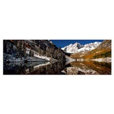 Reflection of snowy mountains in the lake, Maroon  Framed Print