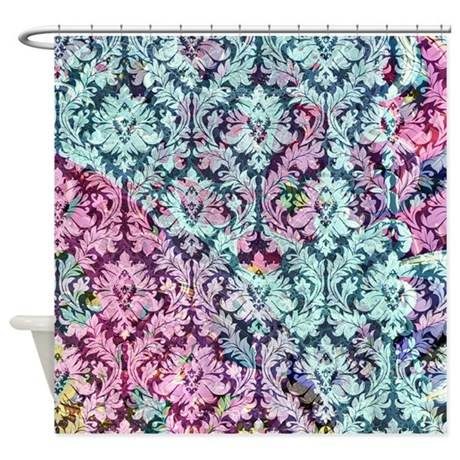 Pink And Blue Damask Shower Curtain By Zandiepants