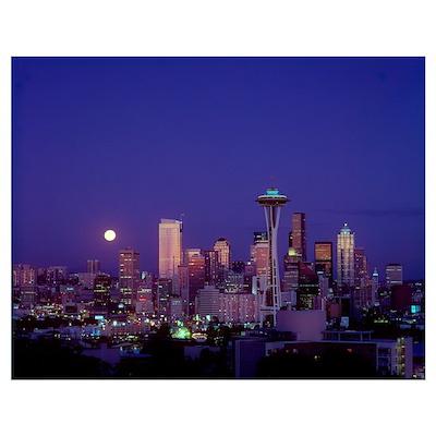 Washington, Seattle, Downtown Skyline With Moonris Poster
