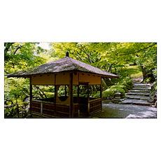 Rest house in garden, Happo-En Gardens, Tokyo Pref Poster