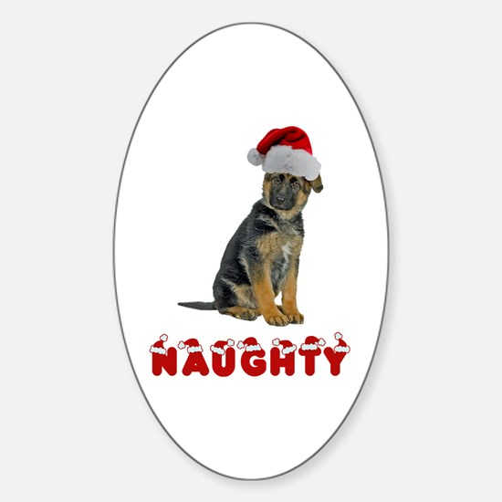 Naughty German Shepherd Sticker (Oval)