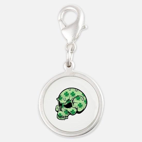 Irish Lucky Skull Silver Round Charm