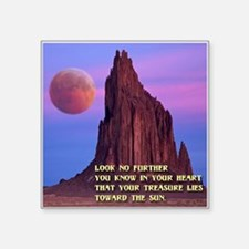 "Red Moon at Shiprock, NM Square Sticker 3"" x 3"""