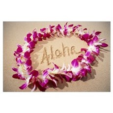 Hawaii, Purple Orchid Lei On Beach, Aloha Written Poster