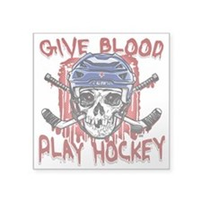 "Give Blood Hockey Blue Square Sticker 3"" x 3"""