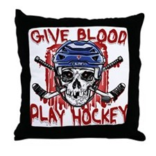 Give Blood Hockey Blue Throw Pillow