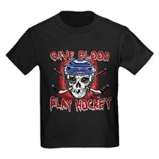 Give Blood Hockey Blue T