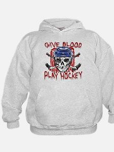 Give Blood Hockey Blue Hoodie