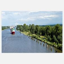 Ship in a canal, Kiel Canal, Kiel, Schleswig-Holst