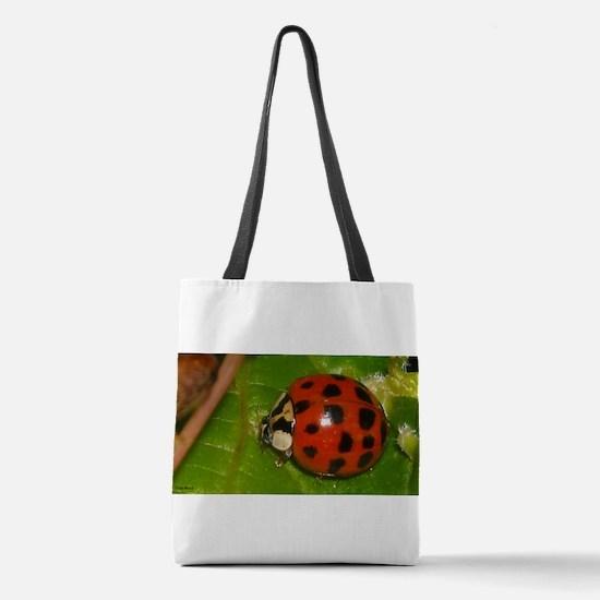Ladybug on Leaf Polyester Tote Bag