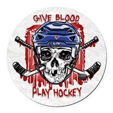 Give Blood Hockey Blue Round Car Magnet