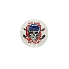 Give Blood Hockey Blue Mini Button